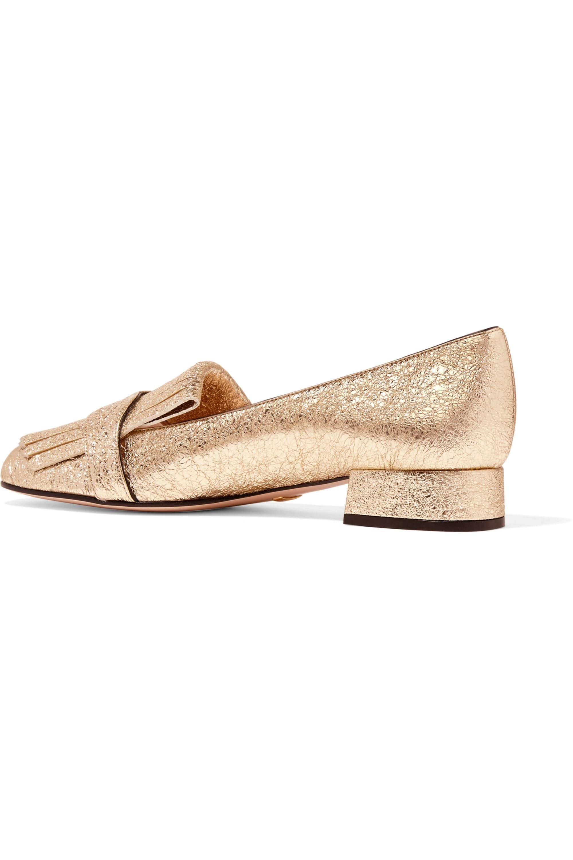 Gucci Marmont fringed logo-embellished metallic cracked-leather loafers