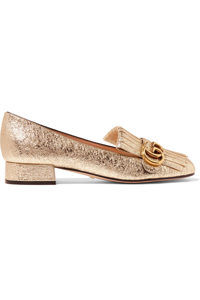 Gucci - Marmont Fringed Metallic Cracked-leather Loafers - Gold