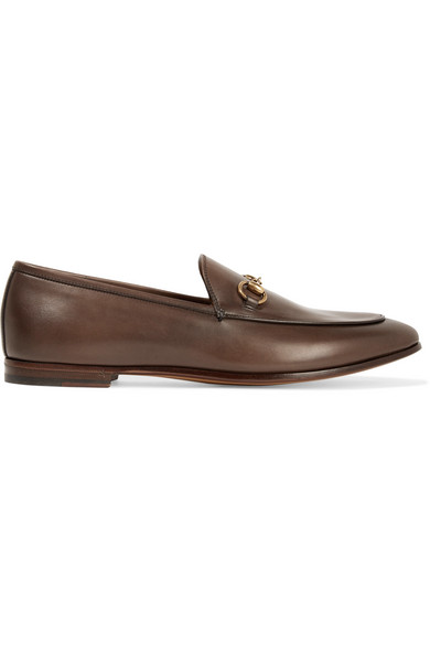 gucci female gucci jordaan leather loafers chocolate
