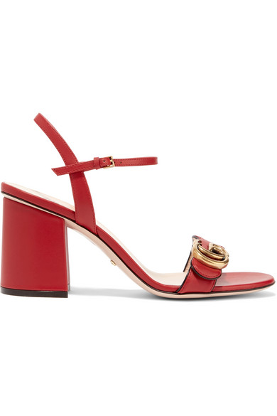 gucci female gucci embellished leather sandals red
