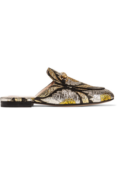 Gucci - Princetown Horsebit-detailed Metallic Floral-jacquard Slippers - Gold