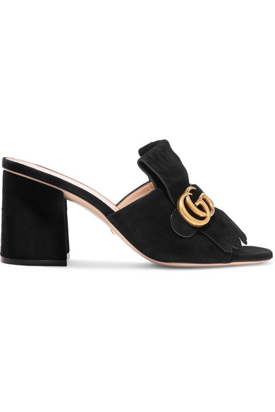 Gucci - Marmont Fringed Suede Mules - Black