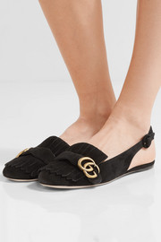 Marmont fringed suede slingback flats
