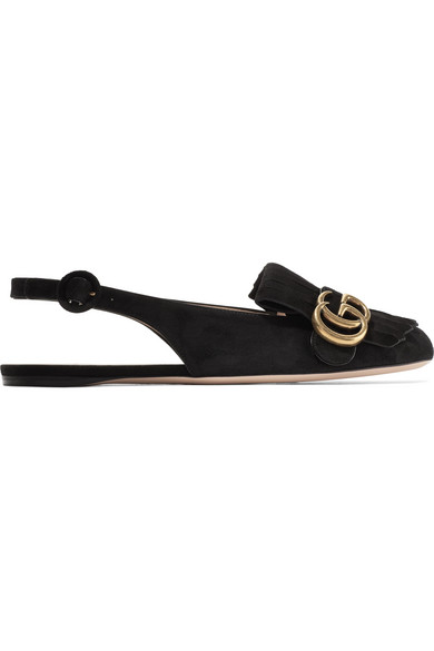 gucci female gucci marmont fringed suede slingback flats black