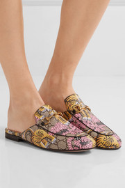 Gucci Princetown printed coated-canvas slippers