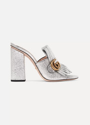 Marmont fringed metallic cracked-leather mules