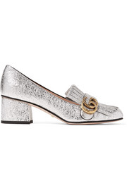 Marmont fringed metallic cracked-leather loafers