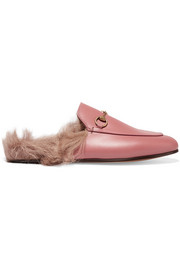 Horsebit-detailed shearling-lined leather slippers