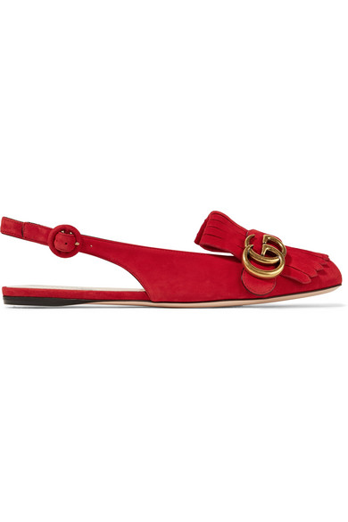 gucci female gucci marmont fringed suede slingback flats red