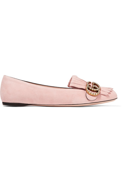 Gucci - Marmont Fringed Suede Loafers - Pastel pink