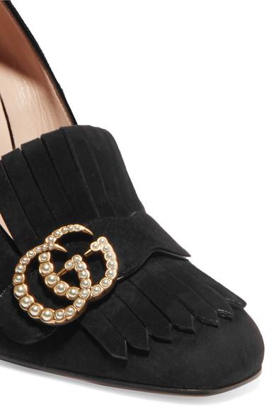 Gucci Marmont Pumps aus Veloursleder mit Haferlasche, Kunstperlen- und Logoverzierung