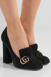 Gucci Marmont faux pearl-embellished fringed suede pumps