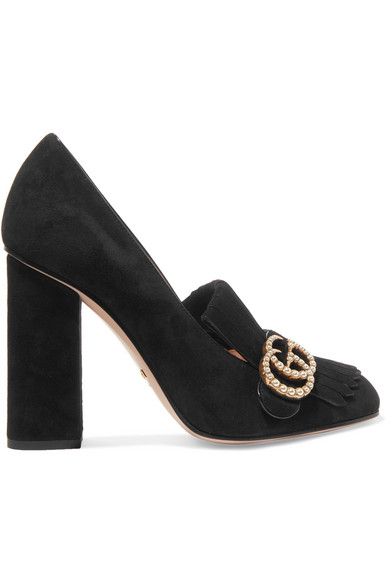 Marmont Fringed Logo And Faux Pearl-Embellished Suede Pumps, Black