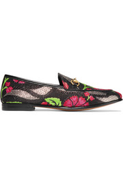 Gucci Jordaan leather-trimmed metallic floral-brocade loafers