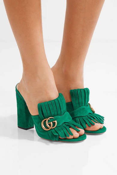 Gucci Marmont Fringed Suede Mules Net A Porter Com