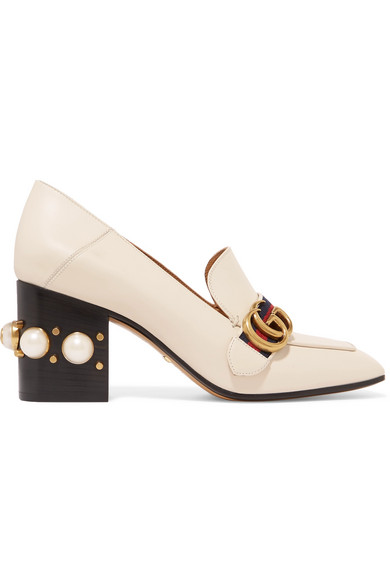 LOGO AND FAUX PEARL-EMBELLISHED LEATHER COLLAPSIBLE-HEEL PUMPS