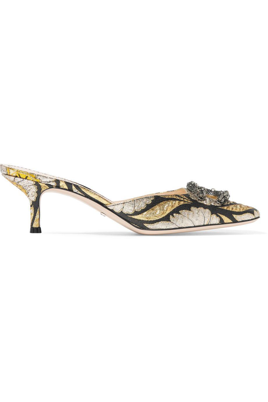 Gucci Embellished jacquard mules