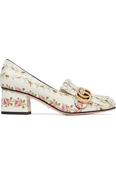 aaf1ff65fb5 Gucci. Marmont fringed floral-print loafers