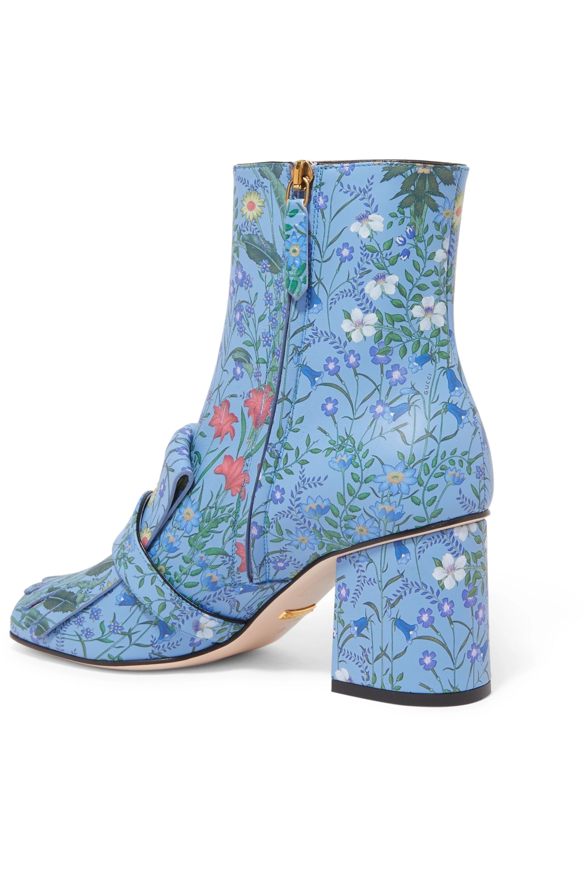 Gucci Marmont fringed floral-print leather ankle boots