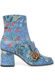 Marmont fringed floral-print leather ankle boots