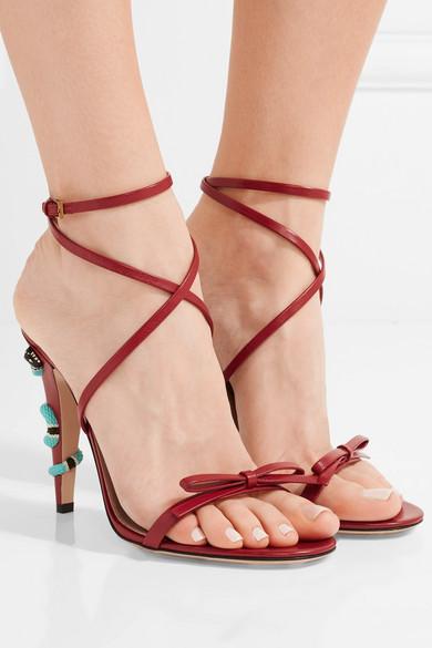 Gucci. Embellished leather sandals 210134028