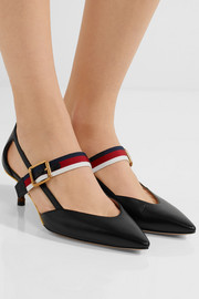 Bamboo-trimmed leather pumps