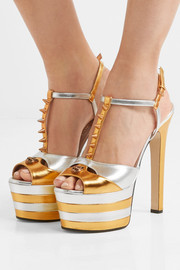 Gucci Studded two-tone metallic leather platform sandals