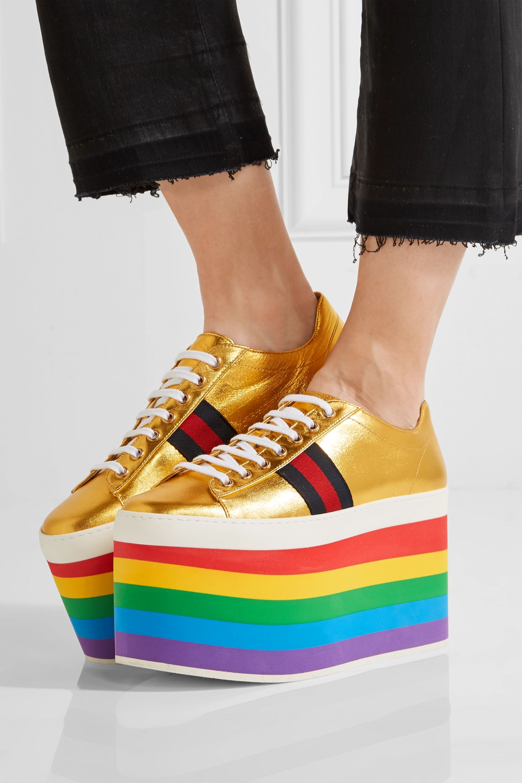 Gold Metallic leather platform sneakers