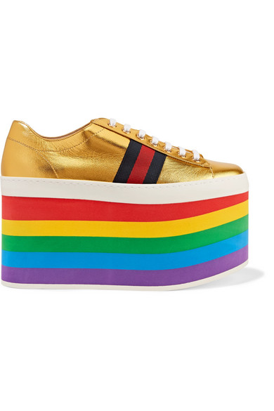 Gucci - Metallic Leather Platform Sneakers - Gold