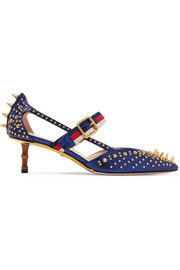 Gucci Bamboo-trimmed studded metallic leather pumps