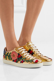 Gucci Ace watersnake-trimmed appliquéd metallic leather sneakers