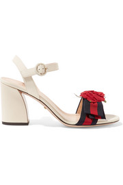 Appliquéd grosgrain-trimmed leather sandals