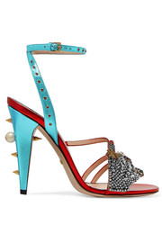Gucci Embellished metallic leather sandals