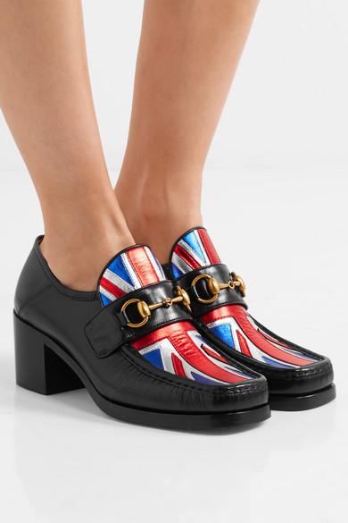 1d4dea9a5d3 Horsebit-detailed collapsible-heel metallic leather loafers