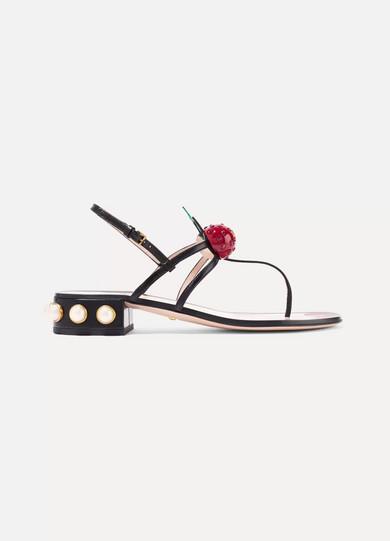 gucci female gucci embellished leather sandals black