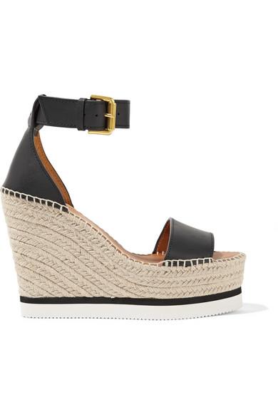 see by chloe female see by chloe leather espadrille wedge sandals black