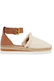 See by Chloé Fringed canvas and leather espadrilles