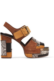 Patchwork snake-effect leather and suede platform sandals