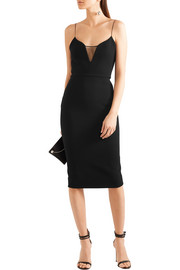 Victoria Beckham Mesh-paneled crepe dress