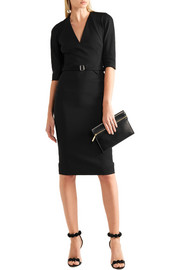 Victoria Beckham Belted stretch cotton-blend crepe dress