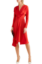 Victoria Beckham Wrap-effect satin-crepe midi dress