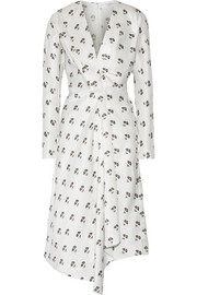 Victoria Beckham Asymmetic wrap-effect printed satin-twill midi dress