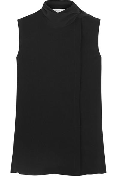 Victoria Beckham - Pussy-bow Silk-georgette Top - Black