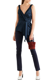 Wrap-effect draped silk-twill top