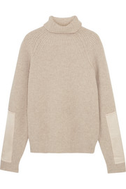 Satin-paneled ribbed wool turtleneck sweater
