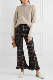 Victoria Beckham Satin-paneled ribbed wool turtleneck sweater