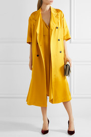 Victoria Beckham Pleated silk-blend satin coat