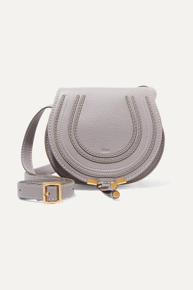 Chloé - Marcie Mini Textured-leather Shoulder Bag - Gray