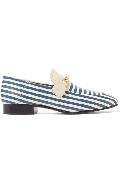 Joseph - Embellished Striped Leather Loafers - Blue