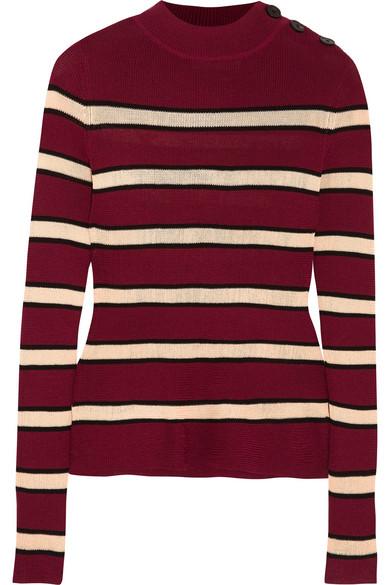 Étoile Isabel Marant - Devona Striped Stretch-knit Sweater - Burgundy